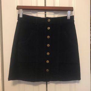Navy corduroy button up skirt